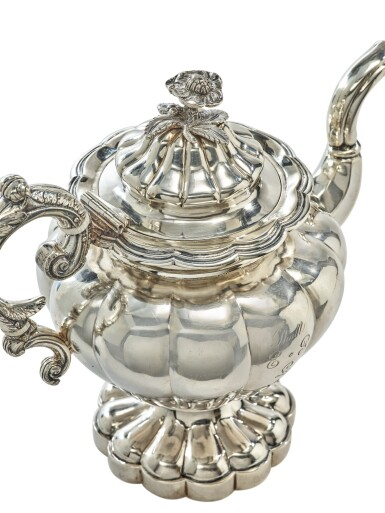 View 2. Thumbnail of Lot 412. A Rare American Southern Silver Six-Piece Tea Set, S&B Brower, New Orleans, 1834-1842.