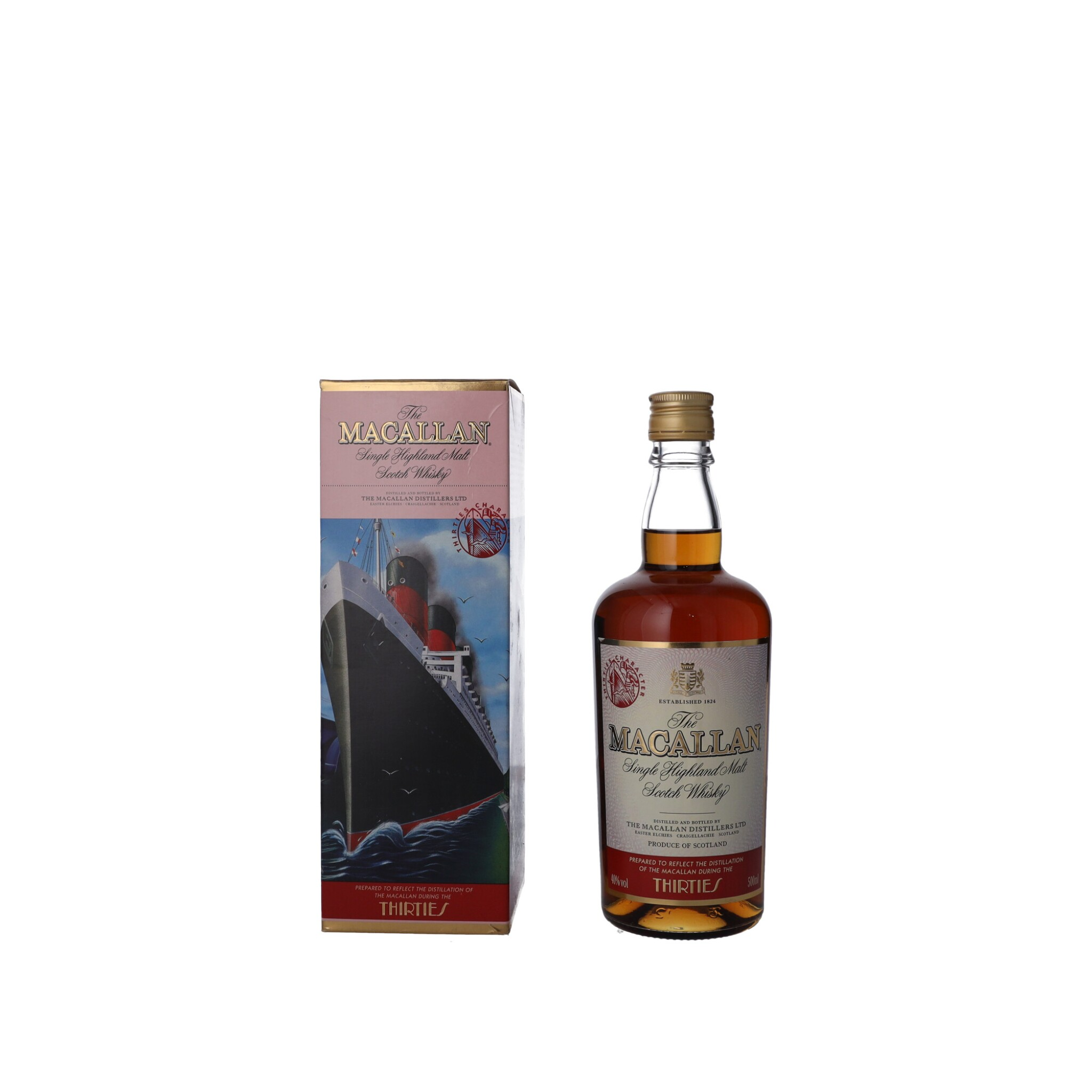 """View full screen - View 1 of Lot 56. The Macallan Travel Decades Series """"Thirties"""" 40.0 abv NV (1 BT50)."""
