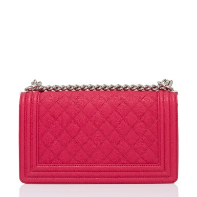 View 4. Thumbnail of Lot 186.  Chanel Red Quilted Old Medium Boy Bag of Caviar Leather with Silver Tone Hardware.