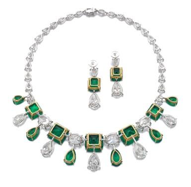 View 3. Thumbnail of Lot 167.  Moussaieff | Impressive emerald and diamond demi-parure | Moussaieff | 祖母綠配鑽石首飾套裝.