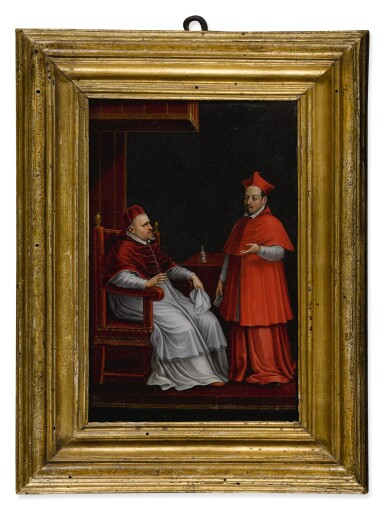 Pope Paul V, seated, with his nephew Scipione Borghese, standing, both full-length in an interior