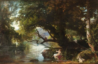 View 1. Thumbnail of Lot 202. A classical landscape with Echo and Narcisse .