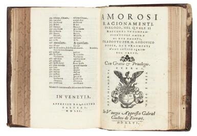 View 2. Thumbnail of Lot 54. Atanagi, De le lettere facete, 1561; Achilles Tatius, Amorosi ragionamenti, 1546, contemporary Roman binding.