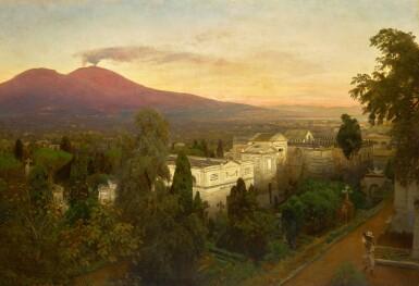 View 1. Thumbnail of Lot 161. Campo Santo in Poggioreale, the Vesuvius Beyond.