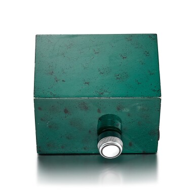 View 3. Thumbnail of Lot 8089. PATEK PHILIPPE FOR ROLEX | A GREEN PAINTED METAL ELECTRIC DESK CLOCK, CIRCA 1970.