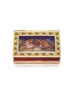 A RARE GOLD, ENAMEL AND PEARL SNUFF BOX WITH 'TEMPLE' AUTOMATON, MUSIC, WATCH AND VINAIGRETTE, SENÉ & NEISSER, GENEVA, 1807/1808