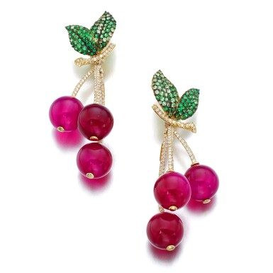 View 1. Thumbnail of Lot 7. MICHELE DELLA VALLE | PAIR OF RED AGATE, TSAVORITE GARNET AND DIAMOND EAR CLIPS, 'CILIEGIE'.