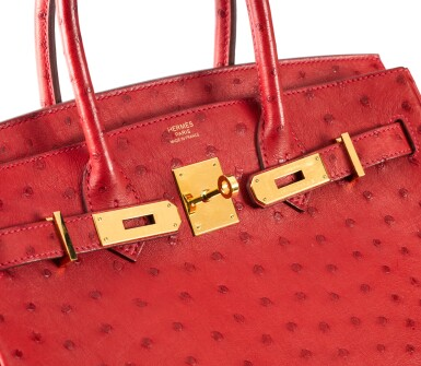 View 3. Thumbnail of Lot 1.  BIRKIN 30 OSTRICH LEATHER IN ROUGE VIF COLOUR WITH GOLD HARDWARE. HERMÈS, 2016.