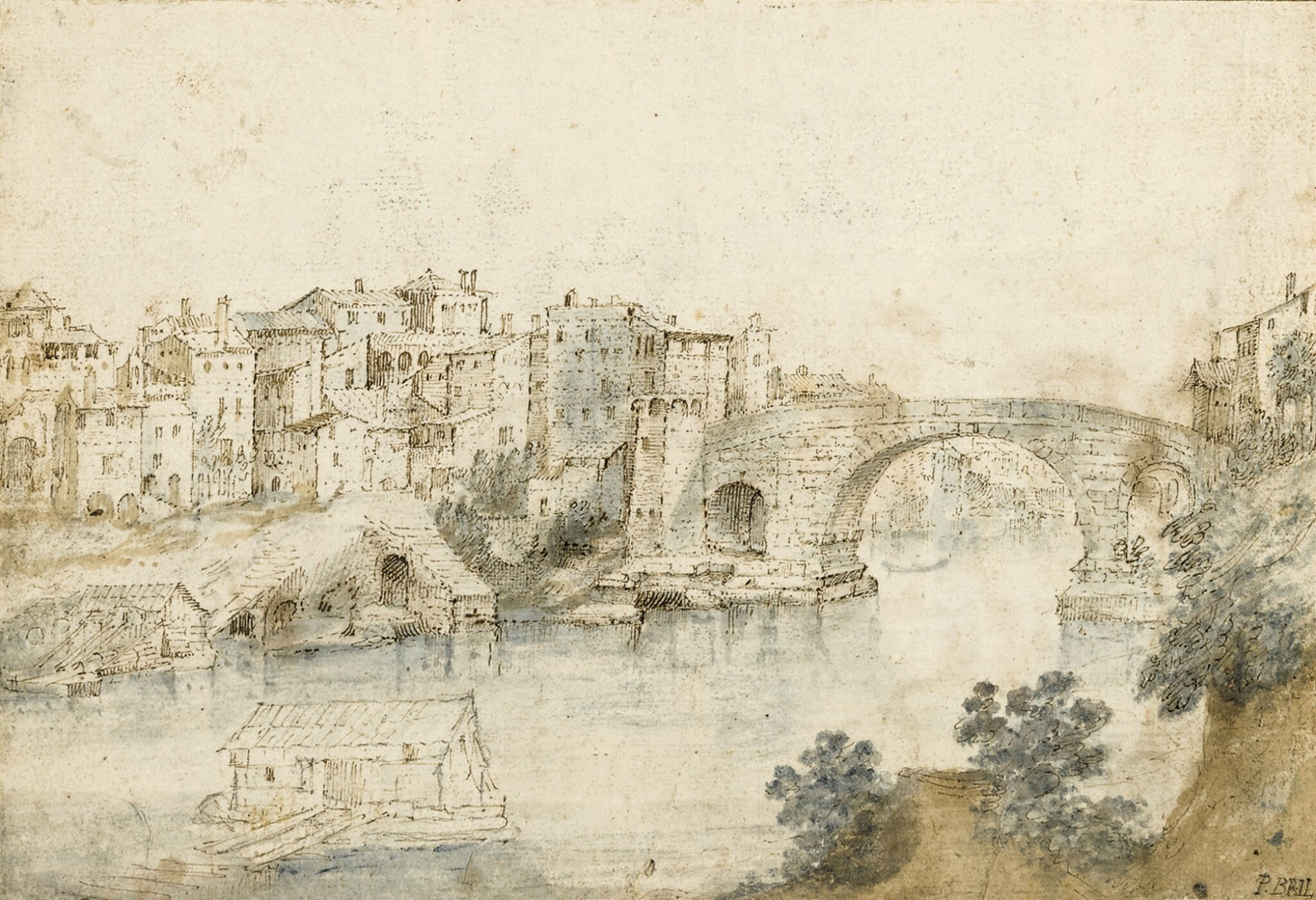 View full screen - View 1 of Lot 19. Recto: View Along the Tiber Verso: Sketch of a Rocky Grotto with Ruins    .
