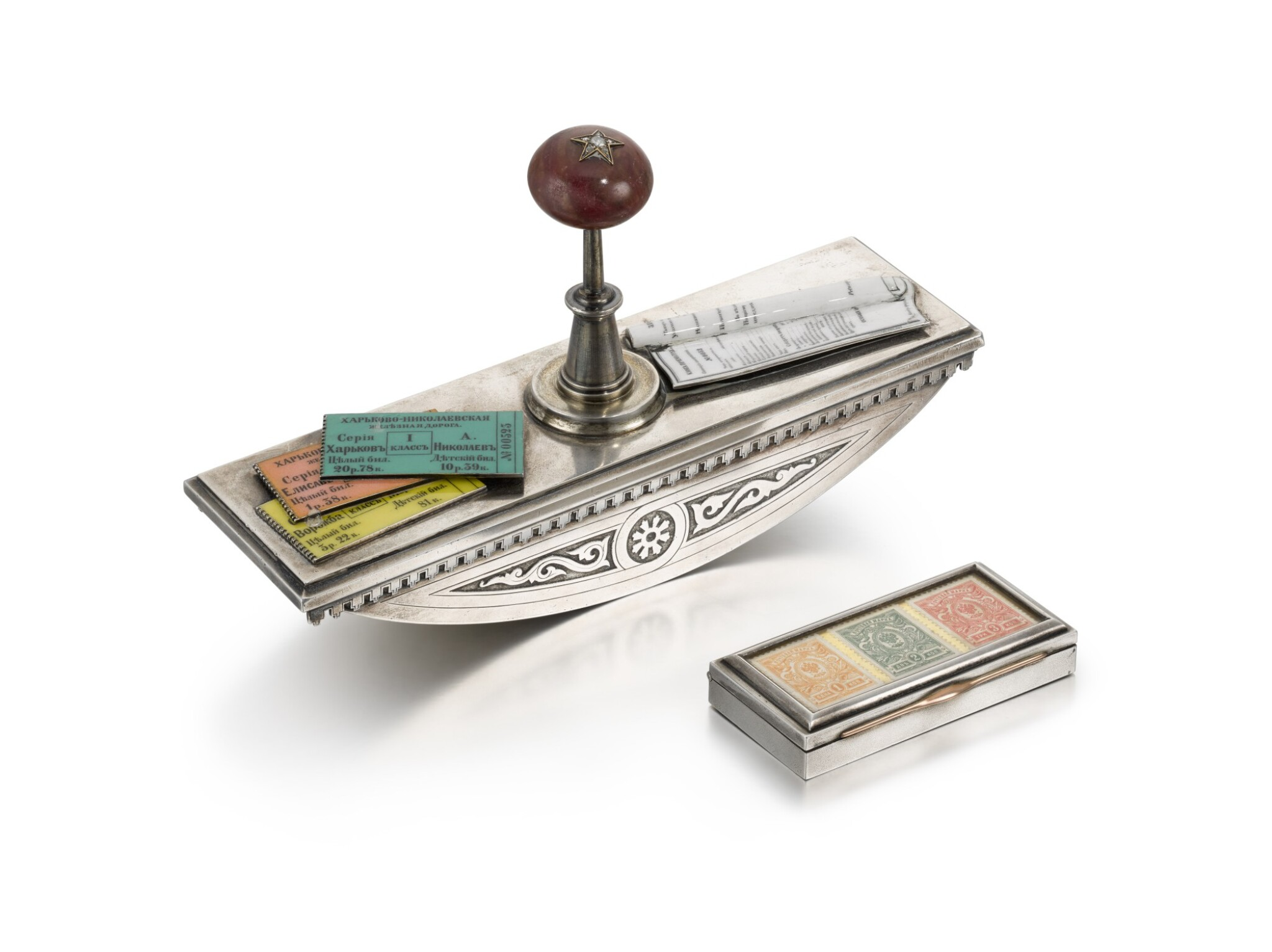 View full screen - View 1 of Lot 208. A silver, rhodonite and enamel blotter, Ivan Khlebnikov, Moscow, 1880 and a silver stamp box, Bolin, Shanks and Co., St Petersburg, 1908-1917.