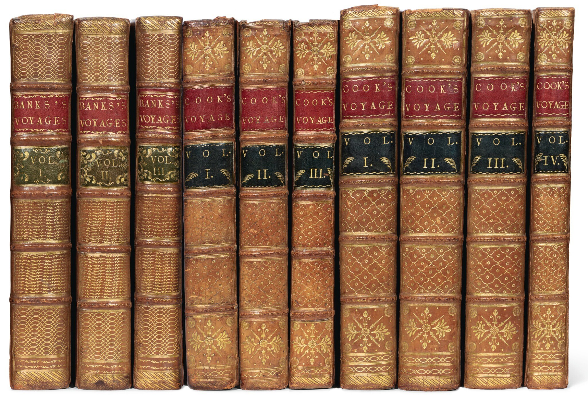View full screen - View 1 of Lot 263. Cook. Complete set of the voyages. 1773-1785. 10 volumes. The Morritt copy..