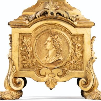 View 4. Thumbnail of Lot 18. A PAIR OF LOUIS XIV GILT-BRONZE FIRE-DOGS   PAIRE DE CHENETS AU MÉDAILLON EN BRONZE DORÉ D'ÉPOQUE LOUIS XIV.