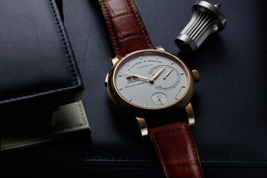 View 2. Thumbnail of Lot 294. Reference 130.032F Lange 31  A pink gold wristwatch with date, power reserve and zero-reset mechanism, Circa 2010 .