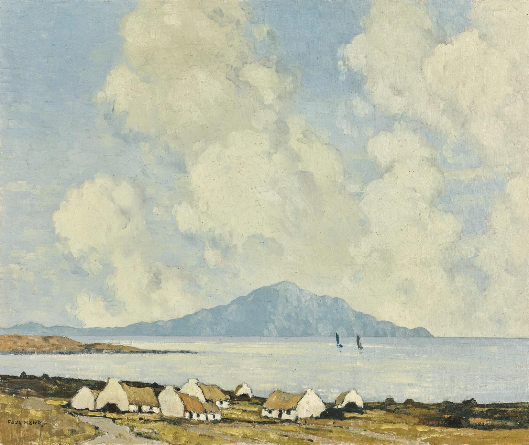 View full screen - View 1 of Lot 57. PAUL HENRY, R.H.A., R.U.A. | CLARE ISLAND FROM ACHILL.