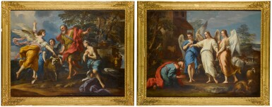 View 2. Thumbnail of Lot 173. Abraham and the Three Angels; The Sacrifice of Isaac.