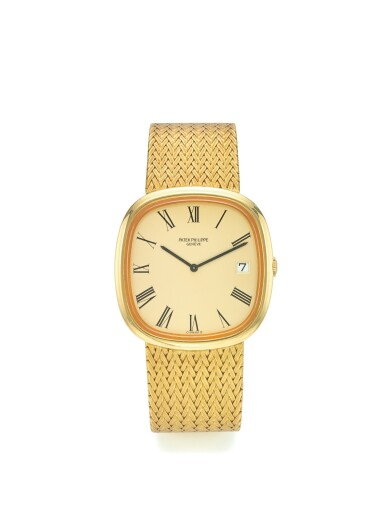 PATEK PHILIPPE | REF 3604-2, A YELLOW GOLD CUSHION FORM AUTOMATIC BRACELET WATCH WITH DATE MADE IN 1980