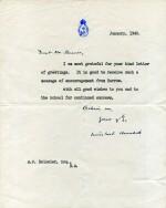 "Winston S. Churchill   Typed letter signed (""Winston Churchill""), to Arthur Paul Bossier, January 1940"