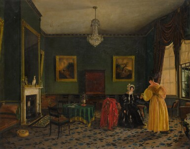 View 1. Thumbnail of Lot 212. ENGLISH SCHOOL, CIRCA 1830 | Elegant ladies in a townhouse interior.