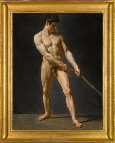 View 2. Thumbnail of Lot 114. A standing male nude, pulling a rope.