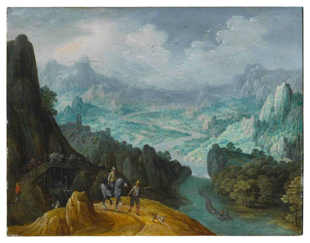 TOBIAS VERHAECHT   MOUNTAINOUS RIVER LANDSCAPE WITH TRAVELERS