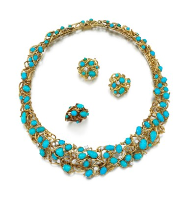 View 2. Thumbnail of Lot 85. TURQUOISE AND DIAMOND PARURE.