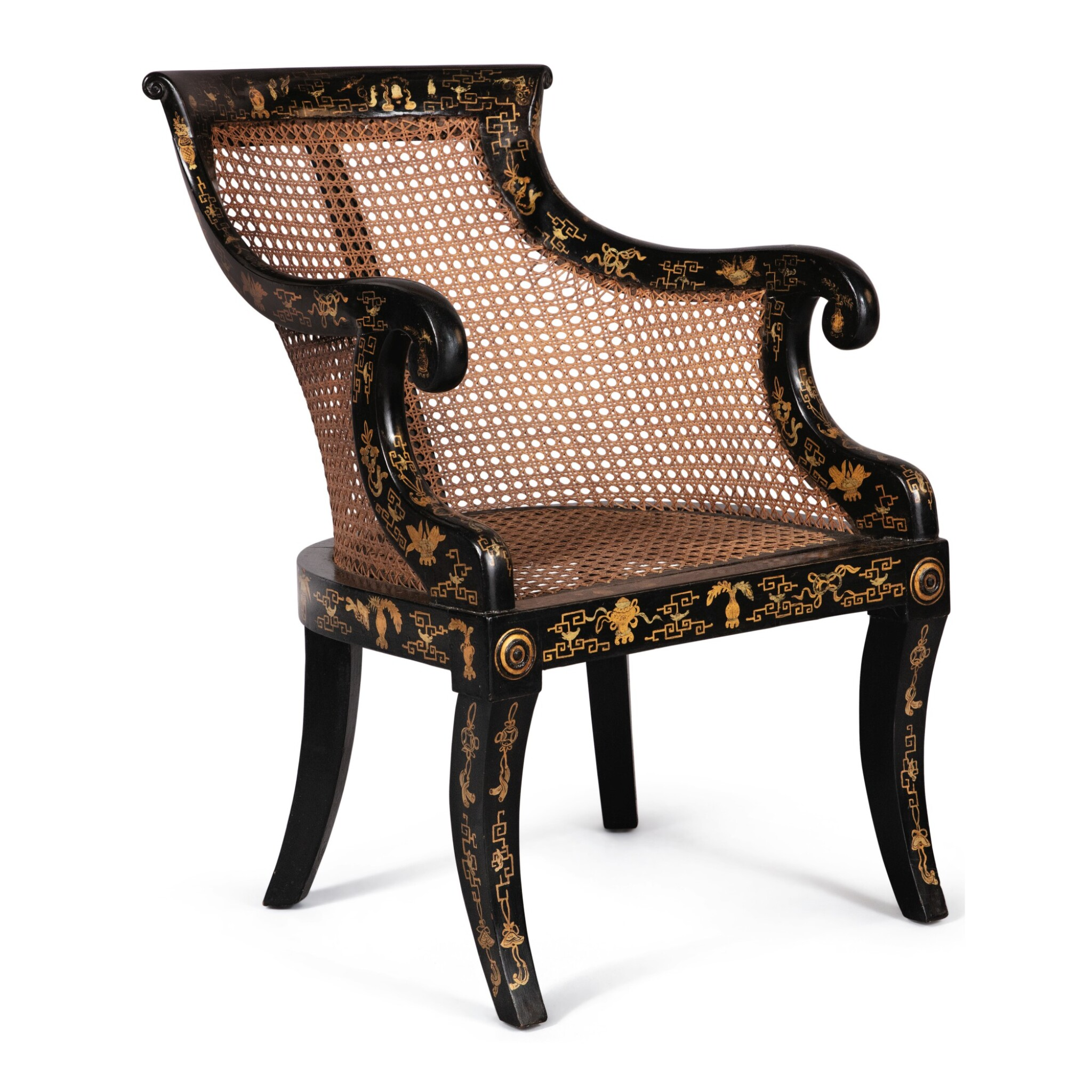 View full screen - View 1 of Lot 128. A REGENCY STYLE JAPANNED AND CANED BERGERE.
