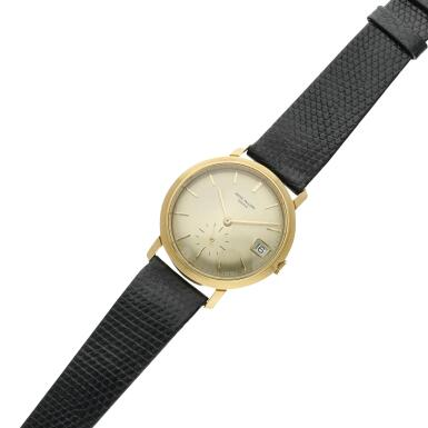 View 4. Thumbnail of Lot 246. Reference 3445  A yellow gold automatic wristwatch with date, Made in 1972.