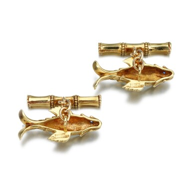 View 3. Thumbnail of Lot 40. JEAN SCHLUMBERGER FOR TIFFANY & CO. | PAIR OF SAPPHIRE CUFFLINKS.