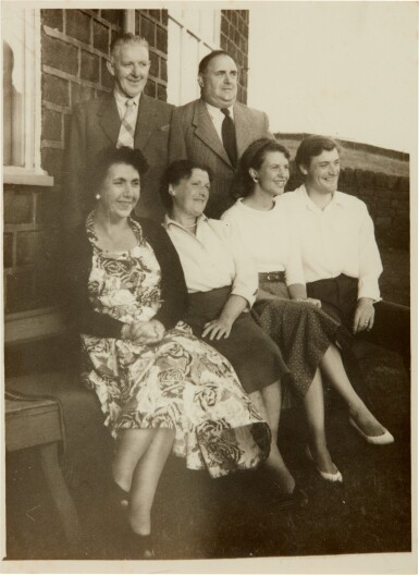 View 1. Thumbnail of Lot 5. Sylvia Plath and Ted Hughes   Collection of six photographs with the Hughes family in Yorkshire, September 1956.