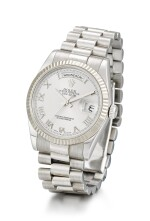ROLEX  |  DAY-DATE, REFERENCE 118239,  A WHITE GOLD WRISTWATCH WITH DAY, DATE AND BRACELET, CIRCA 2006