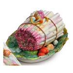 A PARIS (JACOB PETIT FACTORY) ASPARAGUS-FORM TUREEN AND COVER ON FIXED STAND, MID-19TH CENTURY