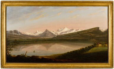 View 3. Thumbnail of Lot 31. EDMUND GARVEY, R.A.  |  A VIEW OF LAKE GENEVA WITH THE MONT SALÈVE AND LE MÔLE, MONT BLANC BEYOND.