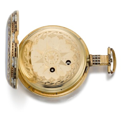 View 8. Thumbnail of Lot 293. EDOUARD JUVET, FLEURIER | A MATCHED PAIR OF FINE GOLD AND ENAMEL OPEN-FACED WATCHES MADE FOR THE CHINESE MARKET, CIRCA 1865, NO. 41981 AND 42308.