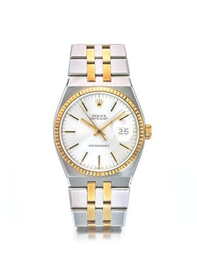 ROLEX   REF 17013 OYSTERQUARTZ, A STAINLESS STEEL AND YELLOW GOLD CENTER SECONDS WRISTWATCH WITH DATE AND BRACELET CIRCA 1978