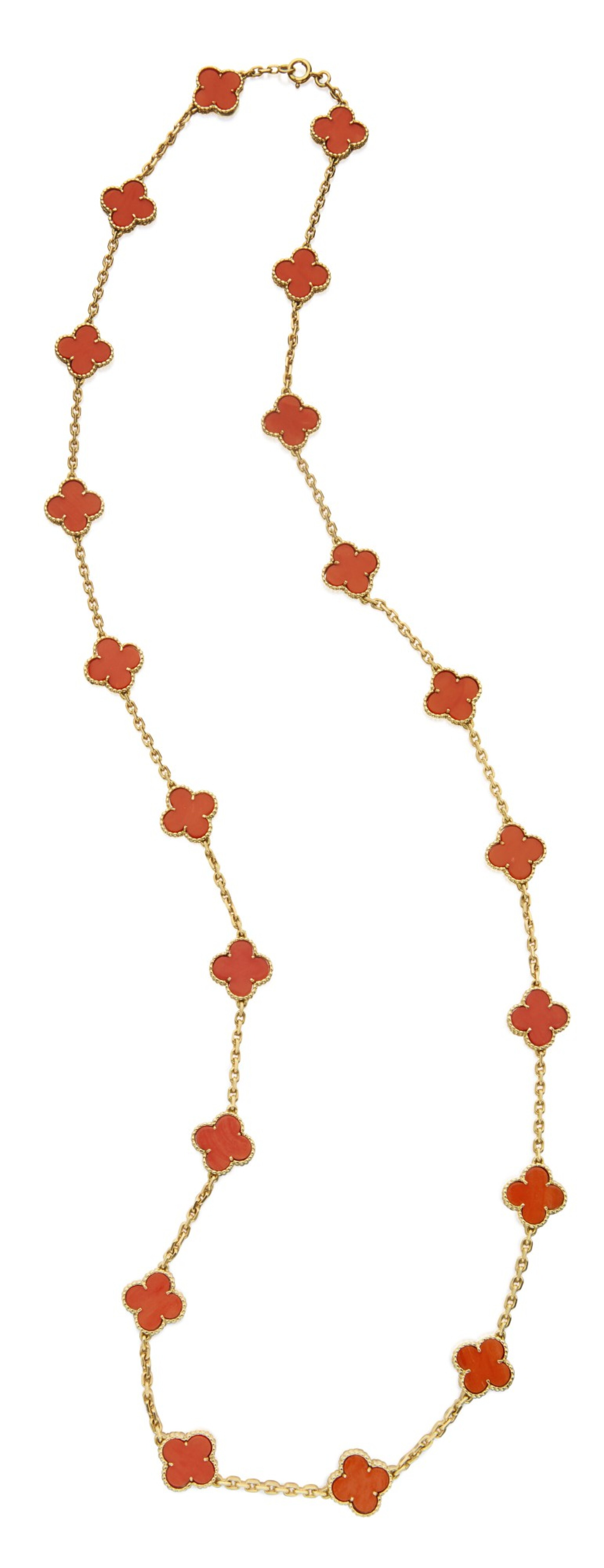 View full screen - View 1 of Lot 342. GOLD AND CORAL 'VINTAGE ALHAMBRA' NECKLACE, VAN CLEEF & ARPELS, FRANCE .