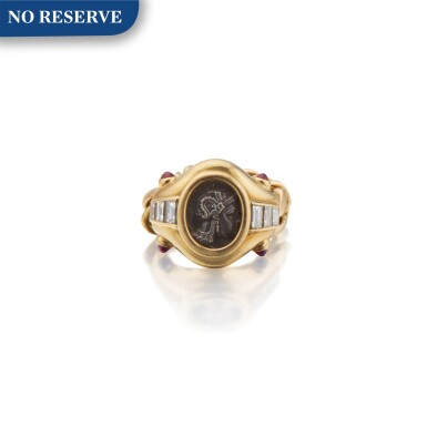 Bulgari | Gold, Ancient Coin, Diamond and Sapphire Ring