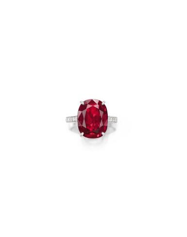 View 1. Thumbnail of Lot 1740. Cartier   Ruby and Diamond Ring   卡地亞   9.10克拉 天然「緬甸」紅寶石 配 鑽石 戒指.