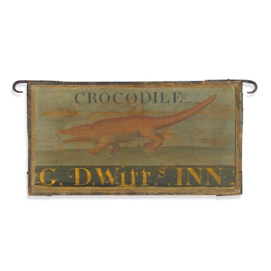 View 1. Thumbnail of Lot 88. VERY RARE AND HISTORIC PAINTED PINE 'CROCODILE' TAVERN SIGN, G. D. WITTS INN, KINGSTON, NEW YORK, CIRCA 1800.