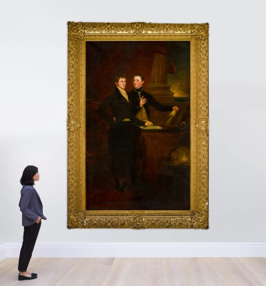 View 4. Thumbnail of Lot 171. Portrait of the Rt. Hon. Sir Edward Knatchbull, later 9th Bt. (1781-1849), with his brother Norton Joseph Knatchbull (d. 1801), both standing by a table, a globe to the right.