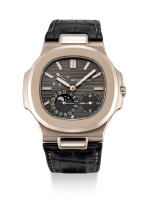 Patek Philippe | Nautilus, Reference 5712, A white gold wristwatch with date, moon phases and power reserve indication, Circa 2016 | 百達翡麗 | Nautilus 型號5712   白金腕錶,備日期、月相及動力儲備顯示,約2016年製
