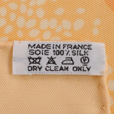 """View 3. Thumbnail of Lot 24. Hermès """"Chaque Rencontre est Unique"""" Silk Twill Scarf 90cm."""