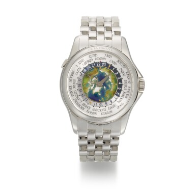 View 1. Thumbnail of Lot 361. PATEK PHILIPPE   WORLD TIME, REF 5131/1P, PLATINUM WORLD TIME WRISTWATCH WITH CLOISONNE ENAMEL DIAL AND BRACELET, CIRCA 2018.