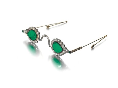 View 4. Thumbnail of Lot 213. A pair of Mughal spectacles set with emerald lenses, in diamond-mounted frames, India, lenses circa 17th century, frames 19th century.