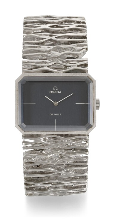 OMEGA | DE VILLE JEUX D'OR, REFERENCE 8272, WHITE GOLD RECTANGULAR BRACELET WATCH CIRCA 1973