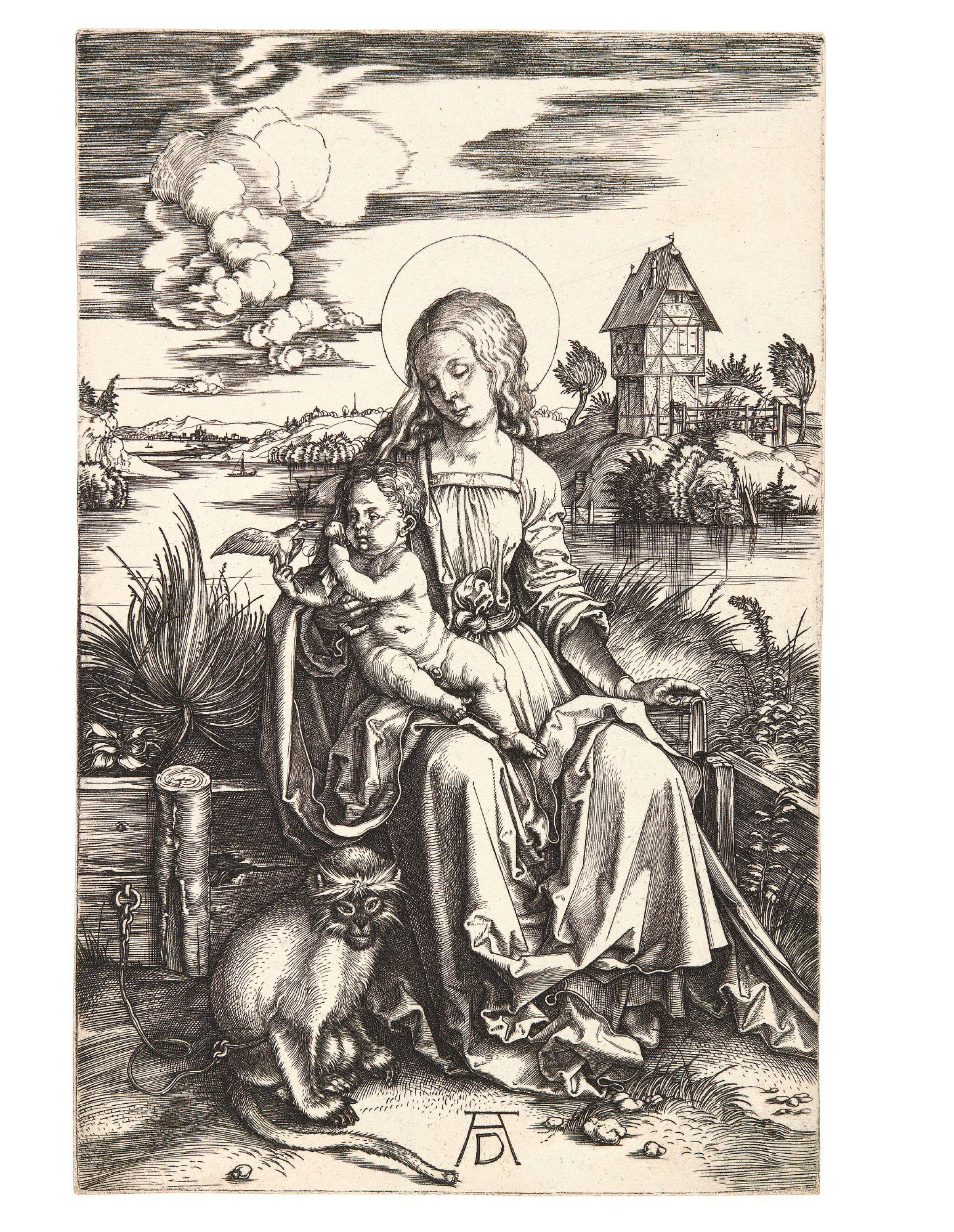 View full screen - View 1 of Lot 17. ALBRECHT DÜRER | THE VIRGIN AND CHILD WITH THE MONKEY (B. 42; M, HOLL. 30).