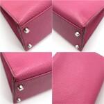 Kelly 32 Retourne Fuchsia Colour in Chèvre leather with palladium hardware. Hermès. 2006.