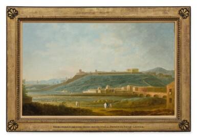 View 2. Thumbnail of Lot 100. ANTONIO JOLI | A VIEW OF GENOA FROM THE EAST, WITH THE PONTE DI SANT'AGATA, THE BORGO DEGLI INCROCIATI AND THE TORRENTE BISAGNO IN THE FOREGROUND, THE MURA DELLA ZERBINO AND THE MURA DI MONTESANO BEYOND.