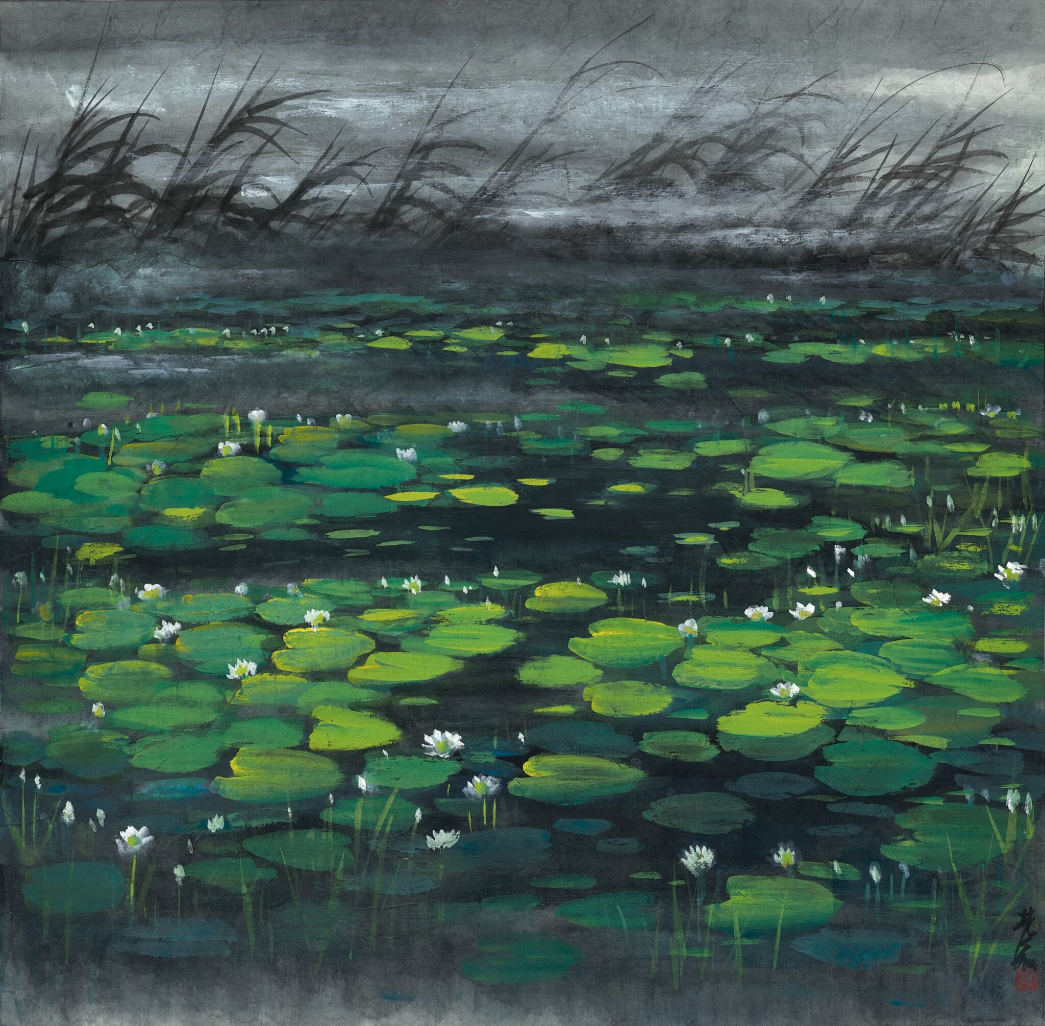 View full screen - View 1 of Lot 2620.  Lin Fengmian 林風眠 | Lotus Pond 荷塘.