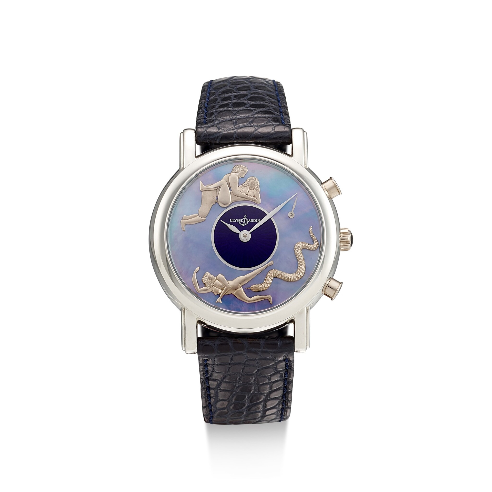 View full screen - View 1 of Lot 104. ULYSSE NARDIN   SAN MARCO, REFERENCE 769-20, A PLATINUM HOUR REPEATING AND HALF HOUR STRIKING WRISTWATCH WITH EROTIC AUTOMATON AND MOTHER-OF-PEARL DIAL, CIRCA 1998.