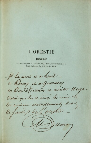 """View 1. Thumbnail of Lot 94.  L'Orestie. 1856. Ed. originale. Rare exemplaire sur papier bleu, avec envoi """"à la mort et à l'exil...""""."""